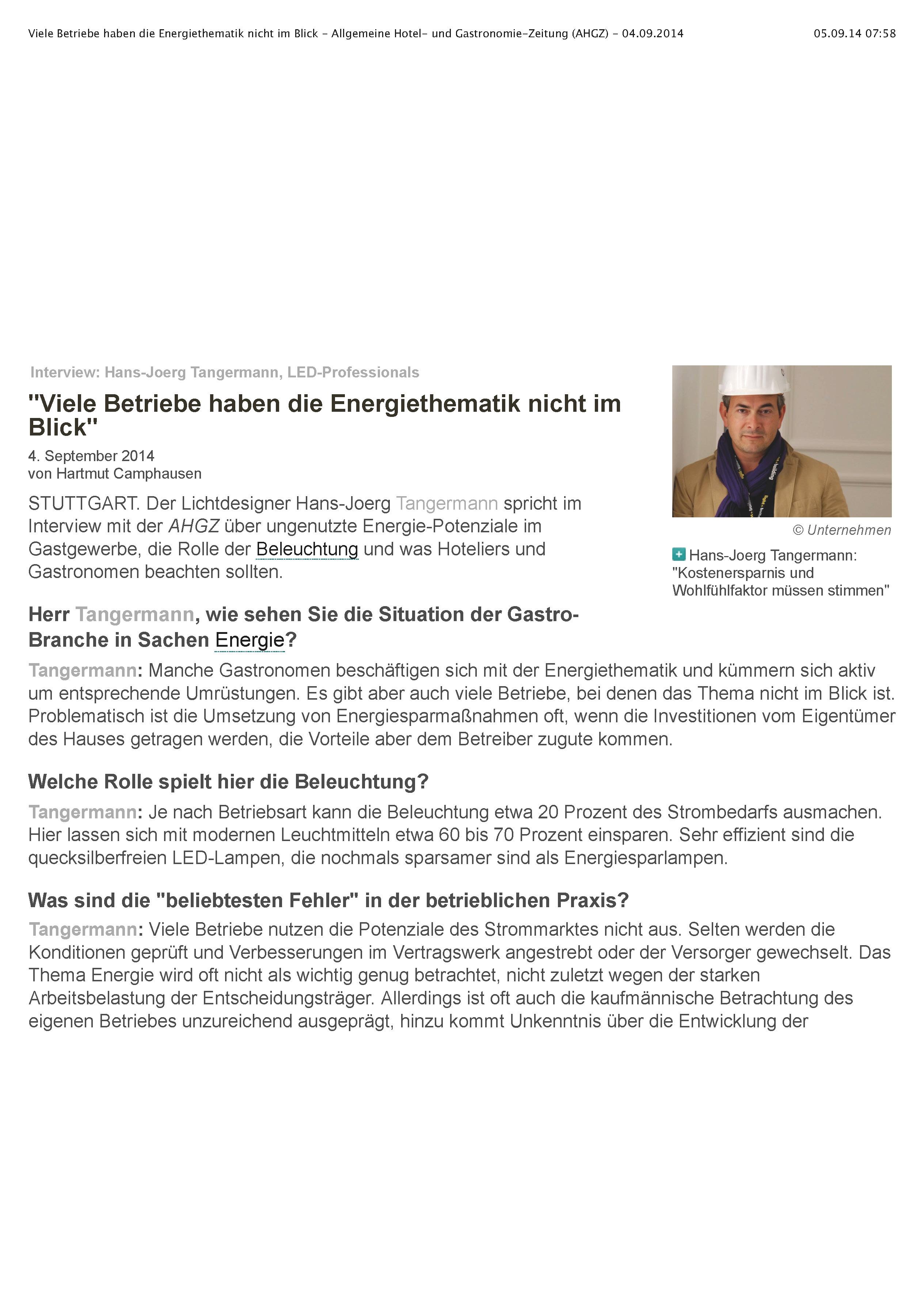 Viele Betriebe haben die Energiethematik nicht im Blick - Allgemeine Hotel- und Gastronomie-Zeitung (AHGZ) - 04.09.2014_Seite_1
