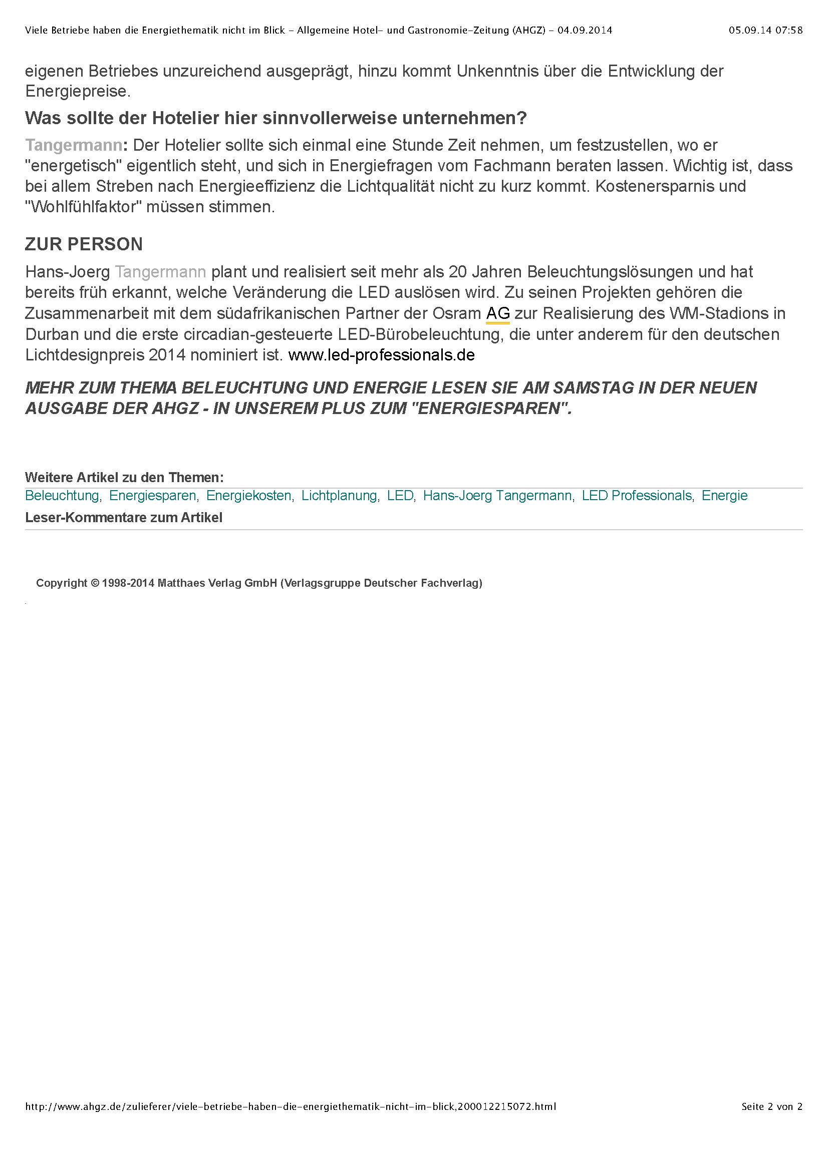 Viele Betriebe haben die Energiethematik nicht im Blick - Allgemeine Hotel- und Gastronomie-Zeitung (AHGZ) - 04.09.2014_Seite_2